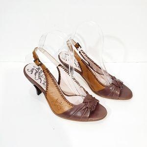 John Fluevog brown  Rare sling back heel sandals